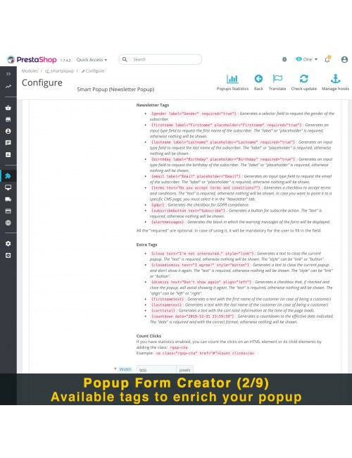 Popups form creator of the module Smart Popup (Newsletter Popup) for PrestaShop