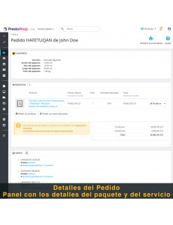 Order details of the module Chilexpress for PrestaShop
