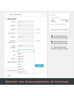 Address form of the module Correos Chile for PrestaShop