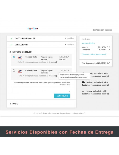Services list of the module Correos Chile for PrestaShop