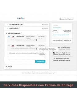 Services list of the module Correos Chile for PrestaShop