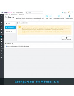 Settings of the PrestaShop module Express Courier on Motorcycle and Bicycle for Chile