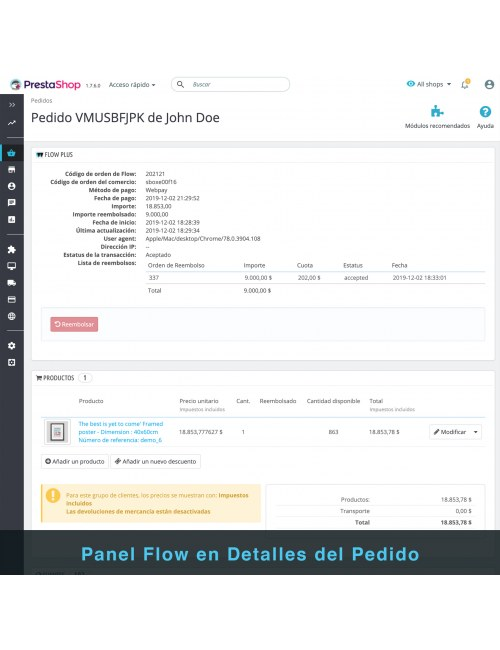 Order detail page of the module Flow Plus for PrestaShop