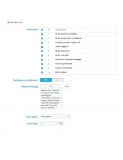 Settings of the module Browser Notifications for PrestaShop