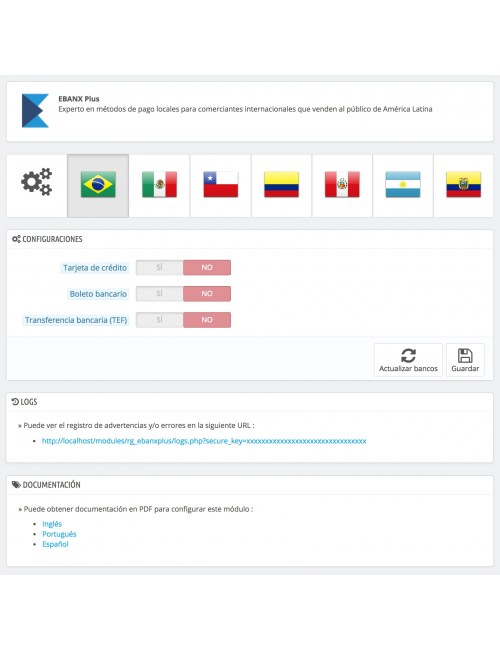 Settings of the module EBANX Plus for PrestaShop