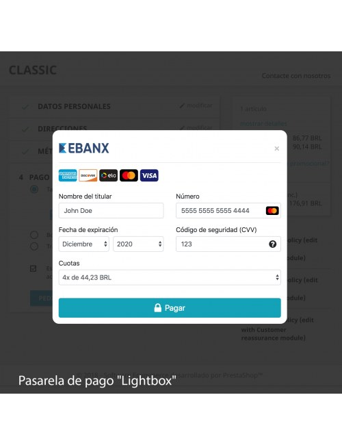 Payment gateway in lightbox style of the module EBANX Plus for PrestaShop
